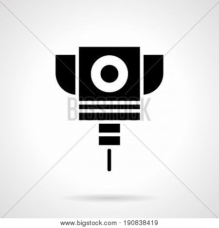 Abstract monochrome symbol of laser cut machine. Industrial high technology equipment. Symbolic black glyph style vector icon.