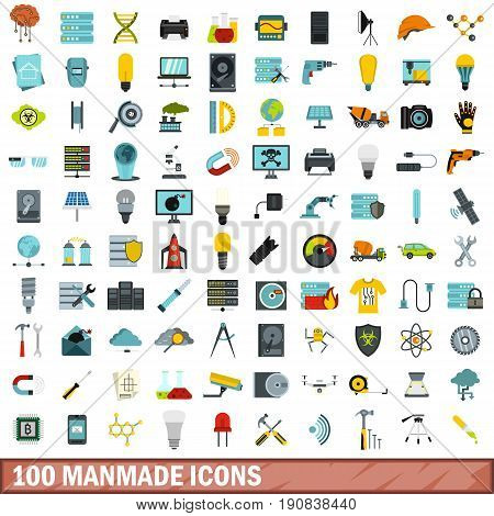 100 manmade icons set in flat style for any design vector illustration