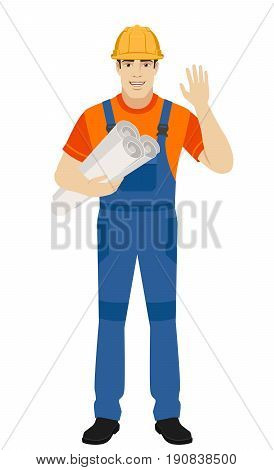 Builder holding the project plans and greeting someone with his hand raised up. Full length portrait of builder character in a flat style. Vector illustration.