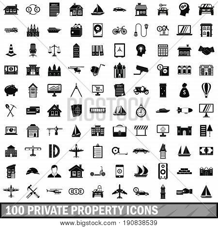 100 private property icons set in simple style for any design vector illustration