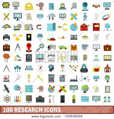 100 research icons set in flat style for any design vector illustration