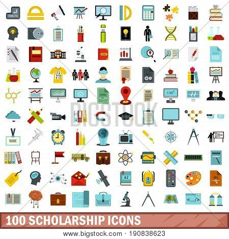 100 scholarship icons set in flat style for any design vector illustration