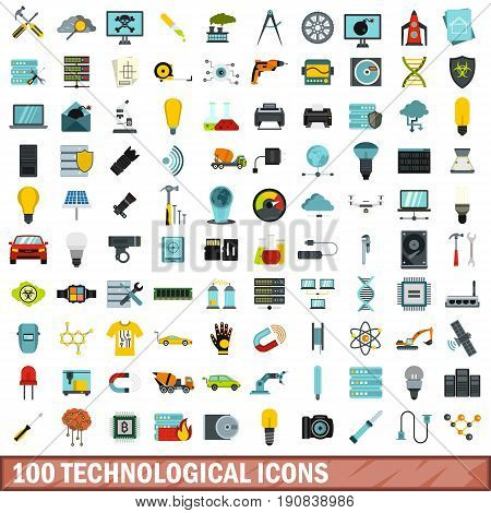 100 technological icons set in flat style for any design vector illustration