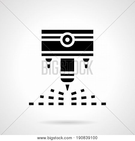 Abstract monochrome symbol of industrial cutter. Modern technology and equipment in industry. Symbolic black glyph style vector icon.