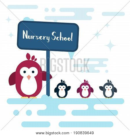 Vector penguins characters stylized as a nursery school on the south pole. Modern flat illustration.
