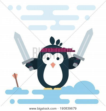 Vector penguin character stylized as a barbarian with two swords. Modern flat illustration.