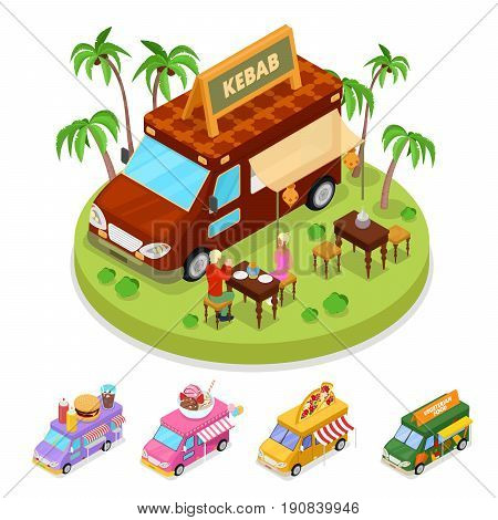 Isometric Street Food Kebab Truck with People. Vector flat 3d illustration