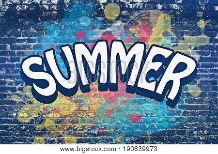 Summer tittle on colorful graffiti brick wall