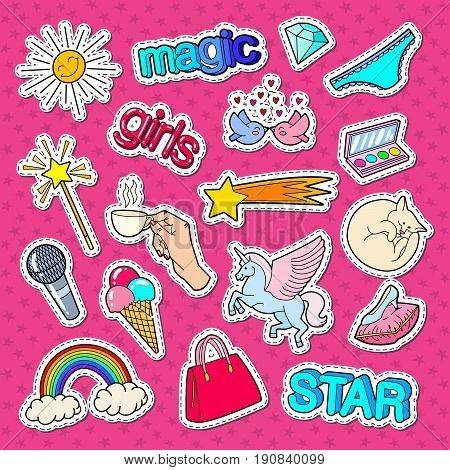 Teenage Girl Style Stickers, Patches and Badges with Rainbow, Unicorn and Ice Cream. Vector illustration