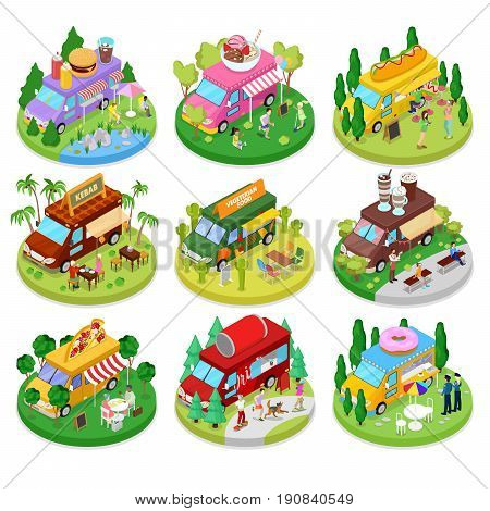 Isometric Street Food Truck Set with Vegeterian Food, Burger, Hot Dog and Ice Cream Cafe. Vector flat 3d illustration