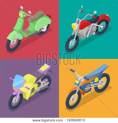 Isometric Motorcycle Set with Motocross and Scooter. Vector flat 3d illustration