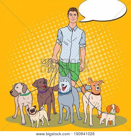 Pop Art Man Dog Walker. Vector illustration