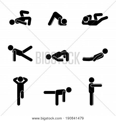 Exercises body workout stretching man stick figure. Healthy life style vector illustration pictogram