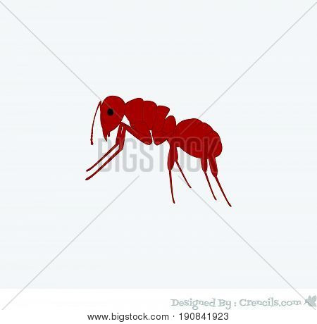 Creepy Red Ant - Vector Stock Illustration