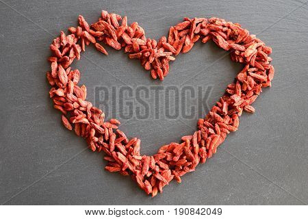 A Heart Shape Made From Dried Goji Berries