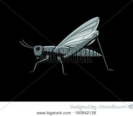 Creepy Vintage Grasshopper - Vector Stock Illustration
