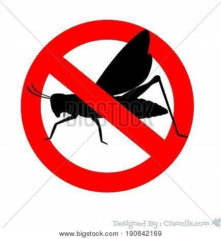 Remove Grasshopper Symbol - Vector Stock Illustration