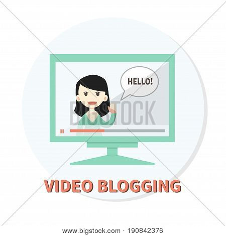 Vector illustration of online video vlogger. Flat design. Woman with speech bubble on computer screen. Concept for videoblogging, modern media or online learning.