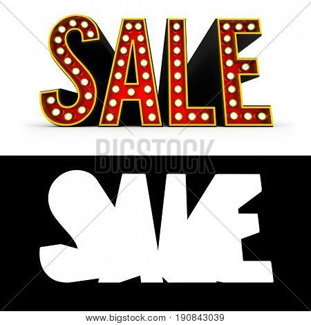 Typical theater style 3D letters spelling the word Sale over white background with alpha map for easy isolation