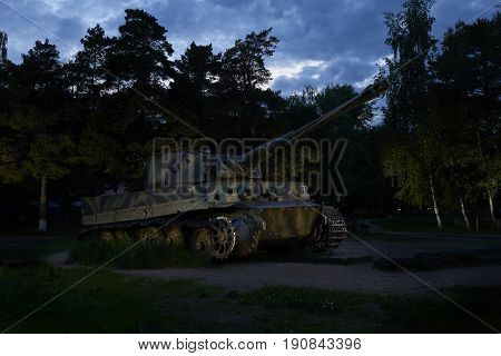 SNEGIRI, MOSCOW REG., JUN, 11, 2017: Fascist Germany destroyed salavate damaged tank Tiger I Panzerkampfwagen VI Ausf. H1 in Lenino Snegiri military historical museum. Second World War tanks