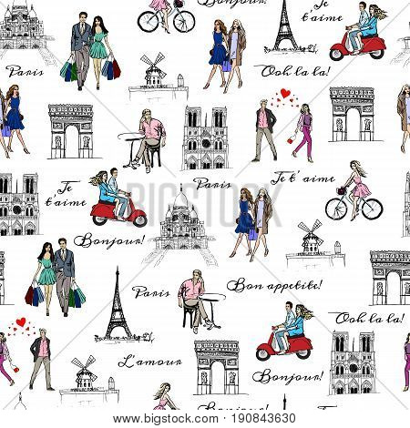 Paris sightseeings and people. Hand-drawn romantic sketches. Seamless background