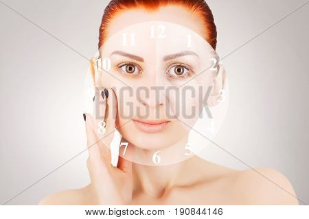 skin lifting red haired woman portrait with clock