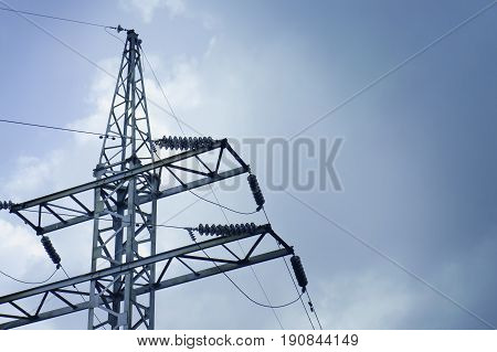 High Voltage Towers, Pylon, At Background Of Sky