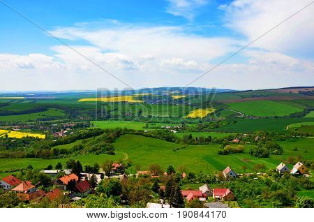 Beautiful view of slovakian countryside slovak nature with village fields meadows panorama scenery