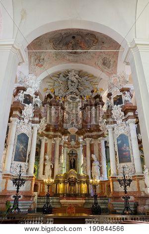 Vilnius, Lithuania - May 05, 2017: Interior Inside St. Johns Church (vilnius University Ensemble), V