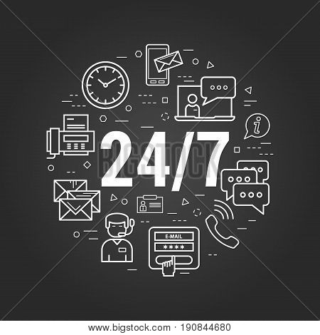 Vector round concept of round the clock support or technical support. Numbers 24 and 7 with many different business icons around on a black chalkboard