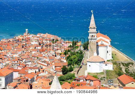 Aerial panorama view of Piran city in Adriatic sea Slovenia