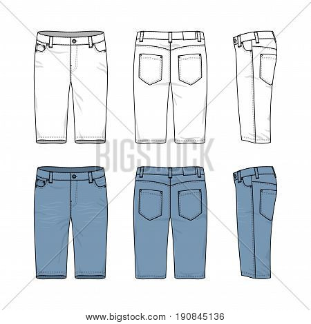 Blank vector templates of male jeans. Front, back and side views of denim shorts. Clothing set in casual style. Fashion illustration.