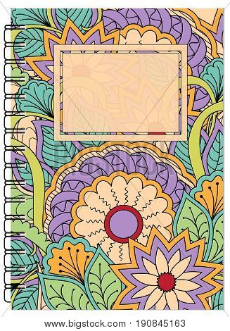Hand drawn tangled zen pattern with mandalas and flowers for decorate book notebook case stationery. Mock up of the notebook. A5 template. EPS 10.