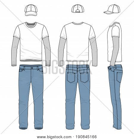 Front, back and side views of male wear. Blank vector templates of tee shirt, pants, baseball cap. Clothing set in casual style. Fashion illustration.