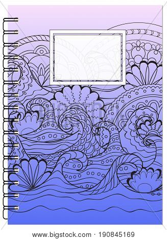 Hand drawn tangled zen pattern with mandalas and waves for decorate book notebook case stationery. Mock up of the notebook. A5 template. EPS 10.
