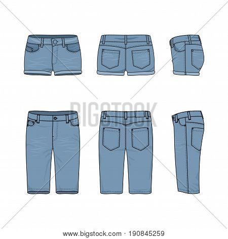 Blank vector templates of male and female jeans shorts. Front, back and side views of denim wear. Clothing set in casual style. Fashion illustration.