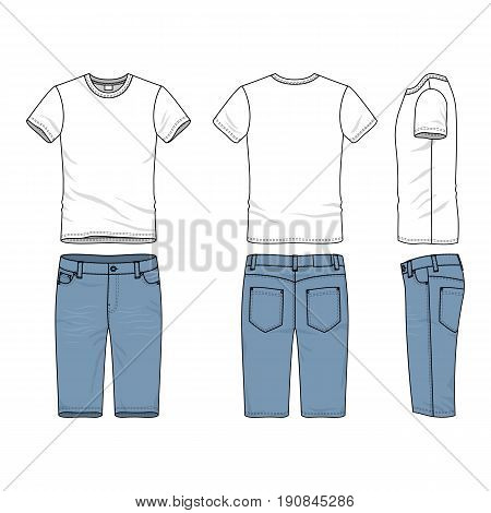 Blank vector templates of male t-shirt and jeans shorts. Clothing set in casual style. Fashion illustration.