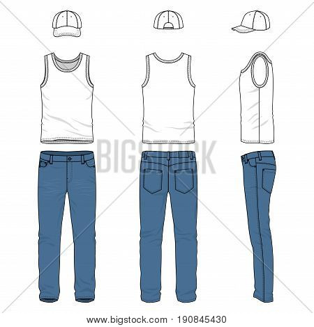 Front, back and side views of male clothing set. Blank vector templates of racer back vest, pants, baseball cap.