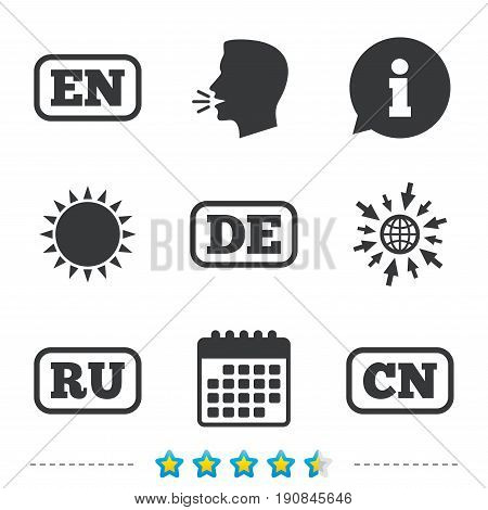 Language icons. EN, DE, RU and CN translation symbols. English, German, Russian and Chinese languages. Information, go to web and calendar icons. Sun and loud speak symbol. Vector
