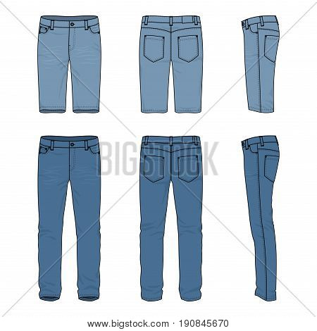 Blank vector templates of male jeans and shorts. Front, back and side views of denim pants. Clothing set in casual style. Fashion illustration.