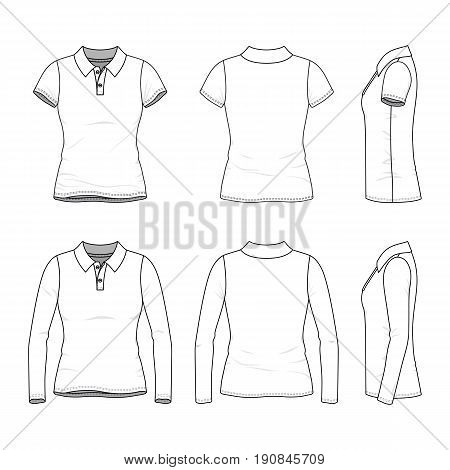 Golf polo shirts with short and long sleeves. Front, back and side views of female clothing set. Blank vector templates in casual style. Fashion illustration.