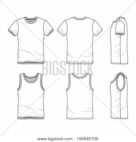 Male clothing set. Blank vector templates of white t-shirt and vest. Fashion illustration. Line art design.