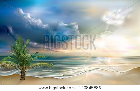 Beautiful sunset on the tropical sea coast. Vector illustration