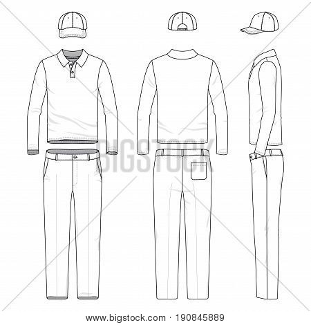 Front, back and side views of male golf suit. Blank vector templates of polo shirt, pants, cap. Clothing set in casual style. Fashion illustration.