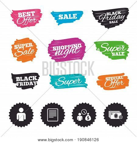 Ink brush sale banners and stripes. Bank loans icons. Cash money bag symbol. Apply for credit sign. Fill document and get cash money. Special offer. Ink stroke. Vector
