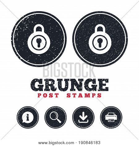Grunge post stamps. Lock sign icon. Locker symbol. Information, download and printer signs. Aged texture web buttons. Vector