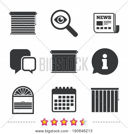 Louvers icons. Plisse, rolls, vertical and horizontal. Window blinds or jalousie symbols. Newspaper, information and calendar icons. Investigate magnifier, chat symbol. Vector