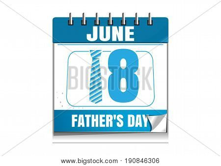 Conceptual calendar for Fathers Day 2017. 18 June. Blue wall calendar isolated on white background. Vector illustration