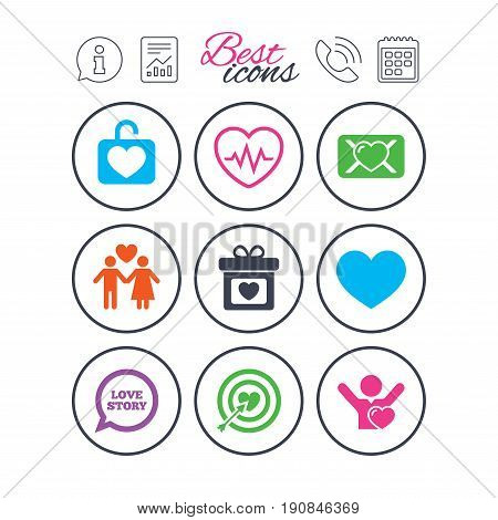 Information, report and calendar signs. Love, valentine day icons. Target with heart, oath letter and locker symbols. Couple lovers, heartbeat signs. Phone call symbol. Classic simple flat web icons