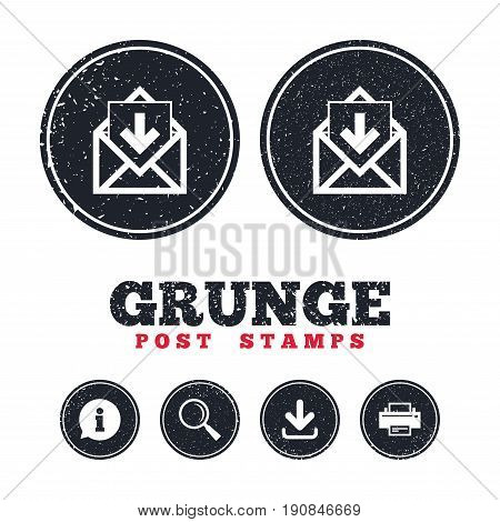 Grunge post stamps. Mail icon. Envelope symbol. Inbox message sign. Mail navigation button. Information, download and printer signs. Aged texture web buttons. Vector